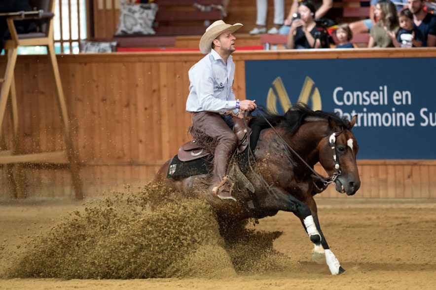 Deutsche Reining Equipe ist Europameister! Grischa Ludwig mit Coeurs Little Tyke bei der EM in Givrins. © offz. FEI