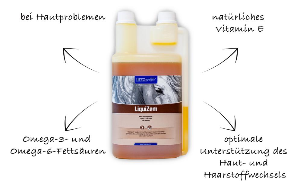 HippoSport® LiquiZem ist eine Mischung aus speziell ausgewählten pflanzlichen Ölen, welche pflegende Eigenschaften bei Hautproblemen und sensibler Haut haben. © HippoSport
