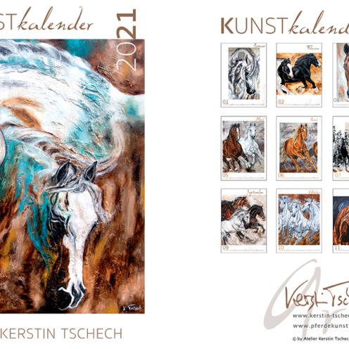 Jährlich stellt Kerstin Tschech einen Pferdekalender aus 13 gemalten Motiven zusammen, welcheeinzigartige Momente aus der Welt der Pferde zeigen.