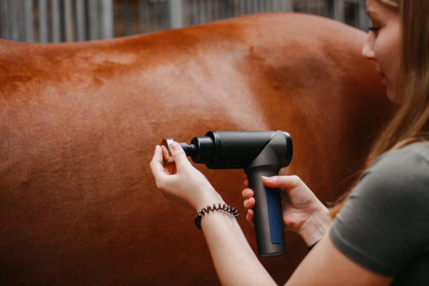 Die OrthoGun wird mit 7 verschiedenen Aufsätzen geliefert wird - darunter zwei metallischen Aufsätzen, die sich perfekt für die Anwendung bei Pferden eignen, weil sie sanft über das Fell gleiten.